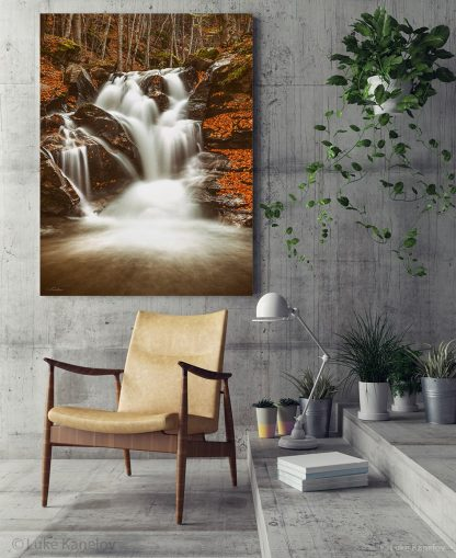 Autumn waterfall landscape