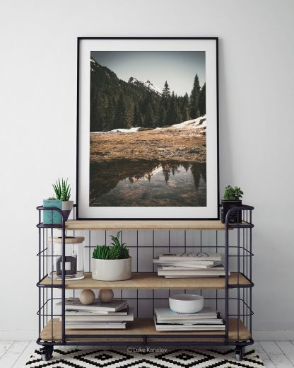 Mountain lake reflection print