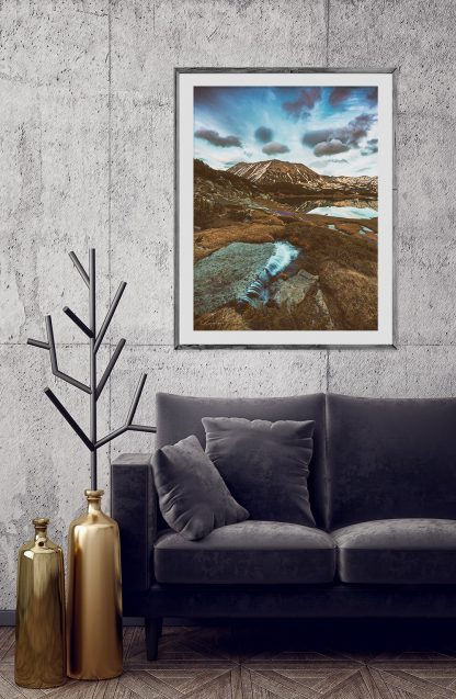 Mountain stream landscape print