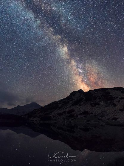 Night sky over a mountain lake