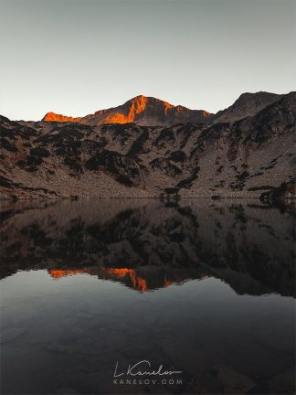 Mountain lake at sunset