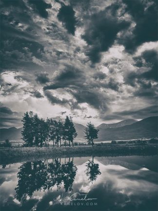 Black and white lake reflection landscape