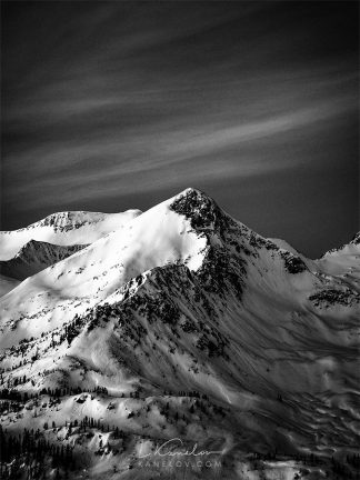 Black and white winter mountain