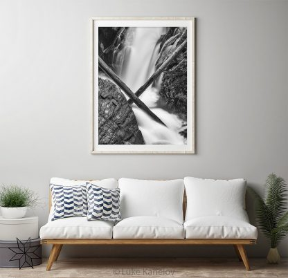 Back and white waterfall print