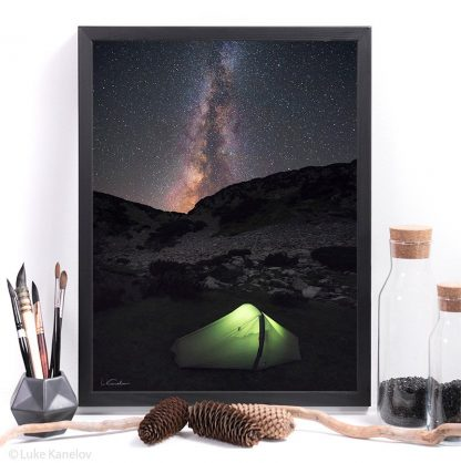Glowing tent under a night sky