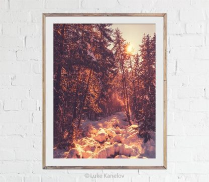 Winter sunset river print