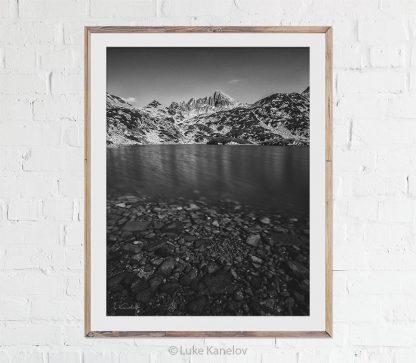Black and white mountain lake