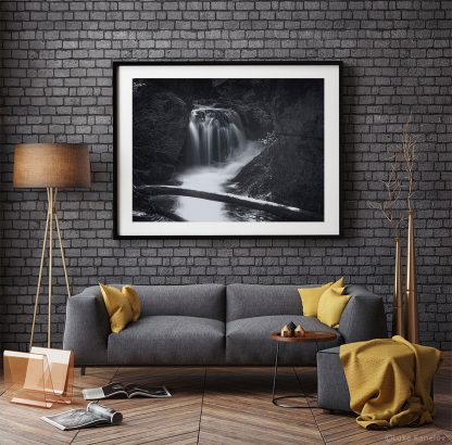 Black and white waterfall photography