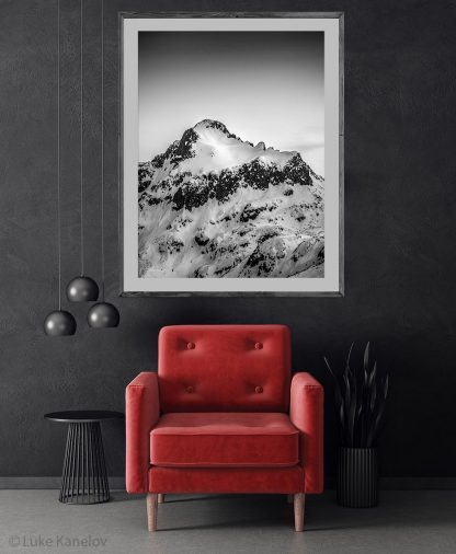 Snowy peak black and white print