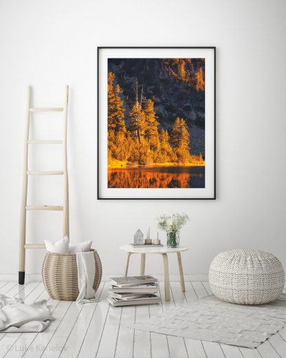 Autumn mountain lake landscape