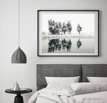 Winter lake reflections print