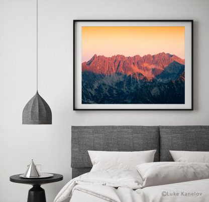 Red sunset over the mountains print