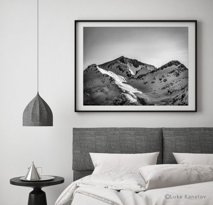 Black and white mountain peaks photography