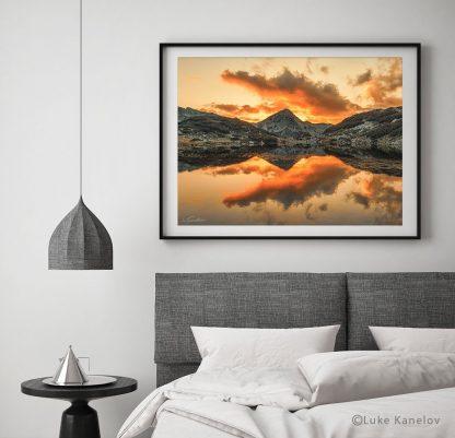 Mountain lake sunset landscape print