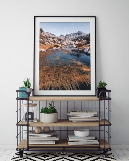 Orange and teal mountain print