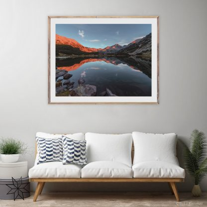 Lake reflection at sunset print