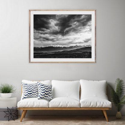 Black and white landscape print