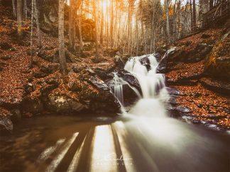 Autumn waterfall landscape print