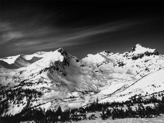 Winter mountain print black and white