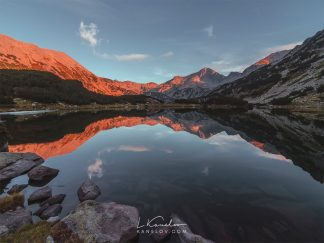 Lake reflection at sunset print