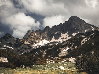 Mountain peak at spring
