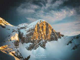 Mountain peak in winter print