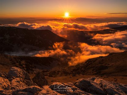 Sunset over the clouds landscape
