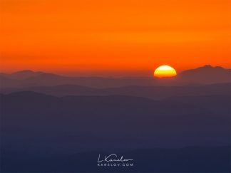 Sunrise over the mountains print