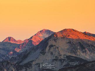 Sunset over mountain peaks print
