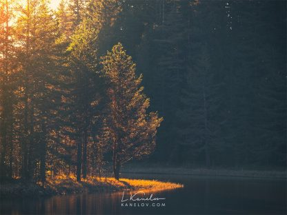 Lake at sunrise photography print