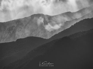 Black and white mountain print