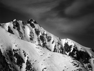 Snowy mountain peak black and white print
