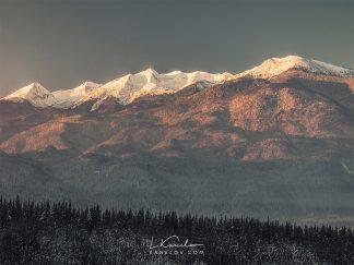 Sunrise landscape snowy mountain