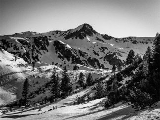 Black and white snow mountain