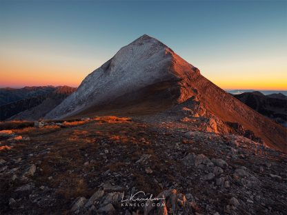 Mountain peak sunset landscape