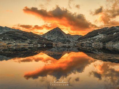 Mountain lake sunset landscape print