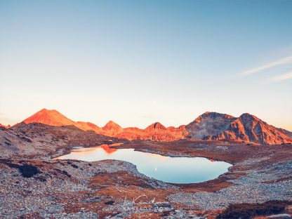 Mountain lake sunset landscape photography