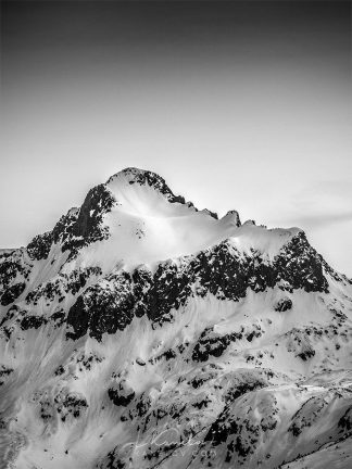 Snowy peak black and white print