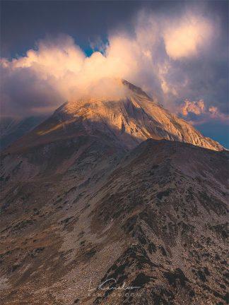 Mountain in clouds landscape print