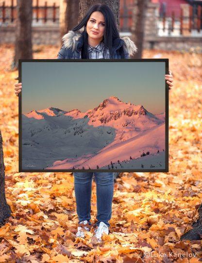 Winter sunset framed canvas