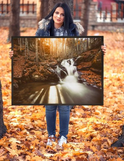 Autumn waterfall landscape print – Framed Canvas