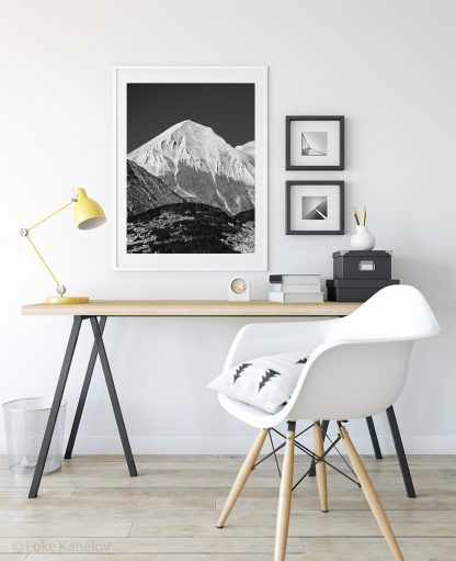 Marble mountain peak, black and white landscape