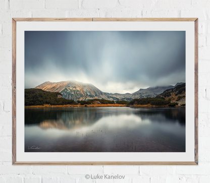 Misty mountain lake photography