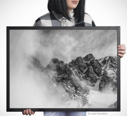 Misty mountain landscape – Framed Canvas
