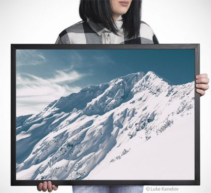 Snow covered mountain peak – Framed Canvas