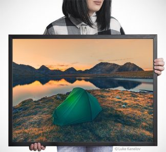 Tent on a mountain lake at sunset – Framed Canvas