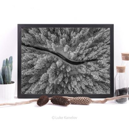 Aerial view of winter forest covered in snow – Framed Canvas
