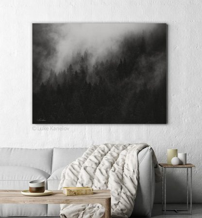 Misty forest print black and white
