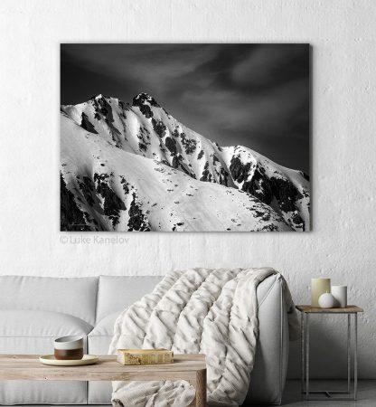 Snowy mountain peak black and white print