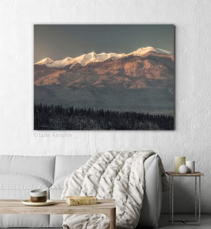 Sunrise landscape snowy mountain